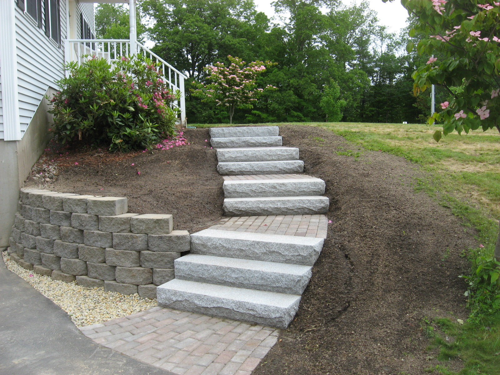 Walkway Retaining Wall Granite Steps and Brick Headwall