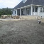 New Belgard Walkway, Patio, fire pit, rebuilt rock wall and hydro seeding and Drainage.